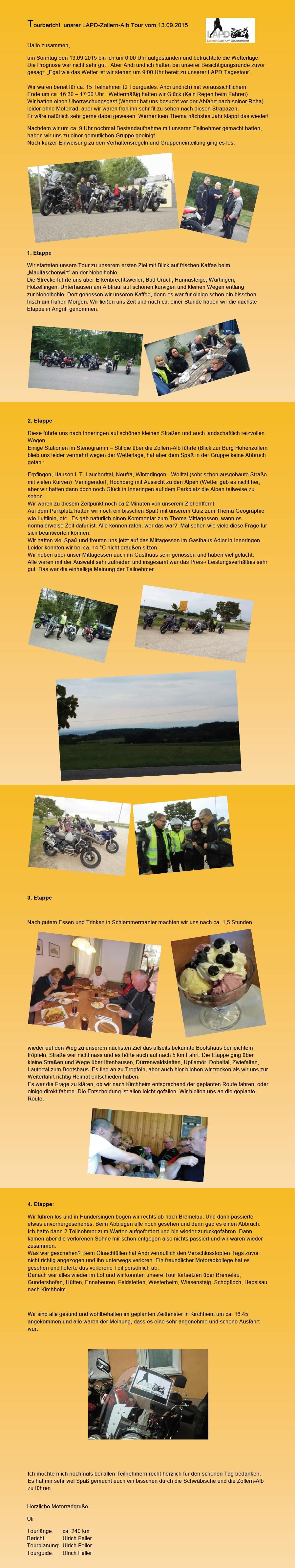 Tourbericht Zollern-Alb